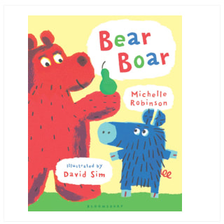 Front cover of Bear Boar. A large red bear holds a pear in its paw. Beside it, a small blue boar looks hopefully up at the pear.