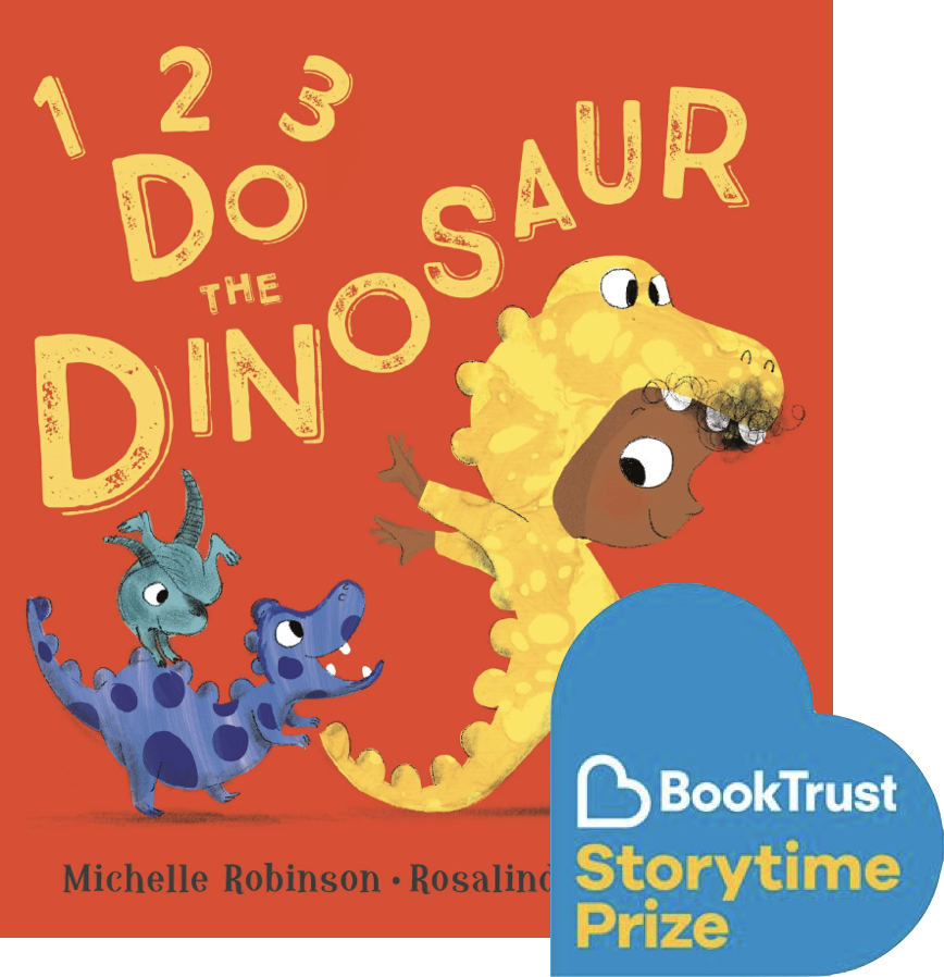 Front cover of 1,2,3 Do the Dinosaur. A young child is wearing a yellow dinosaur onesie and stomping ahead of two cute baby dinosaurs.