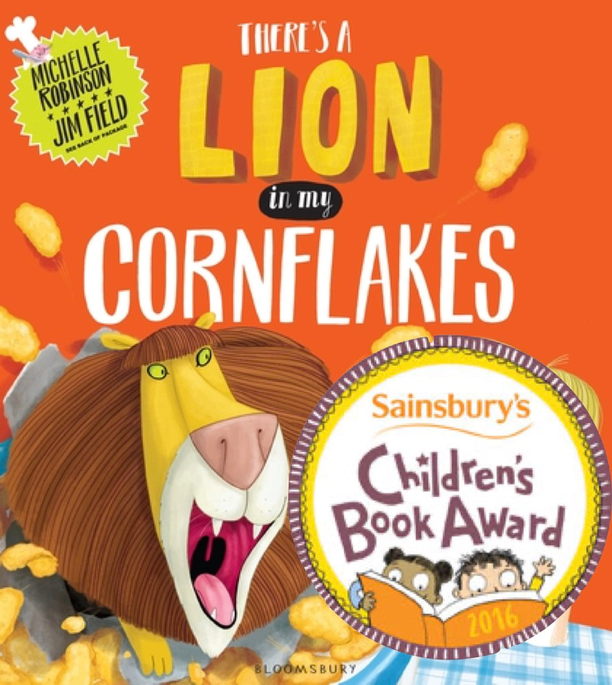 Front cover of THERE'S A LION IN MY CORNFLAKES, featuring a young boy in glasses smiling beside a huge lion.